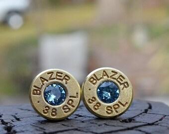 Boucles d'oreilles puce stud ou par la poste, Blazer.38 spécial avec des cristaux de Swarovski