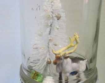 Waterless snowglobe Mason Jar reindeer christmas diorama  trimmed in bling and silver ribbon bow