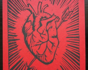 Corazon - block printed anatomical heart postcard