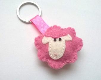 Pink Felt sheep keychain - white sheep - lamb - felt accessories - eco friendly - gift for her - key holder - felt animals