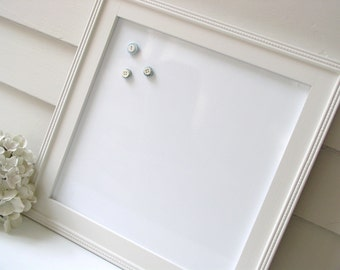 Dry Erase Whiteboard with Cottage White Frame - Magnetic Memo Bulletin Board - Decorative Handmade Wood Frame