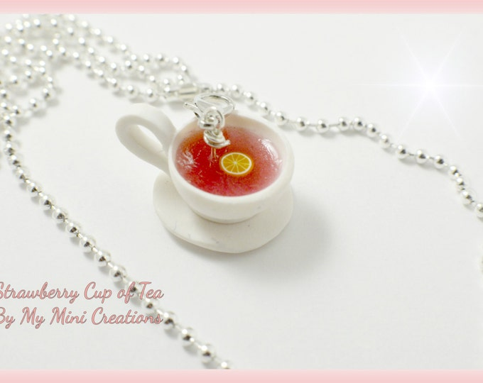 Strawberry Cup of Tea Necklace, Polymer clay, Miniature food, Miniature Food Jewelry