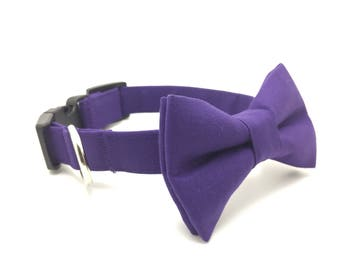 Purple Dog Bow Tie, Wedding Dog Bow Tie and Collar, Wedding Dog Bow Tie, Dog Collar, Purple Dog Collar, #dog