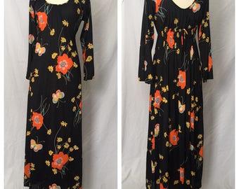 Vintage 1960s Mod Floral & Butterfly Full Length Dress