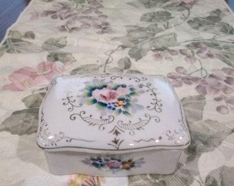 Vintage Porcelain Individual Floral Ashtrays With Holder