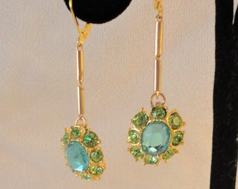 Crystals Green Blue Earrings****