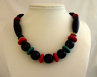 Chunky Black Necklace Red Necklace Boho Chic Organic Wood Jewelry Vintage Jewelry Teal Pink Green Yellow Unique Necklace Gift for Her