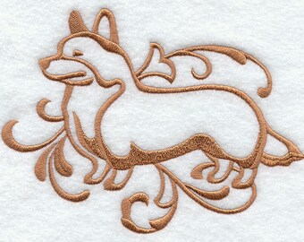 Elegant Damask Corgi Embossed Style Embroidered Flour Sack Hand/Dish Towel