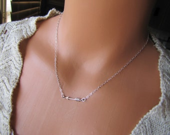 Tiny Sterling Silver Arrow Necklace