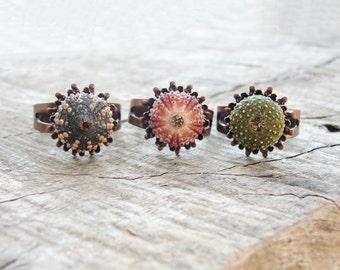 Seeigel-Ring - Mini Kupferring - Rosa-grün-braun - wählen Sie Ihre Farbe