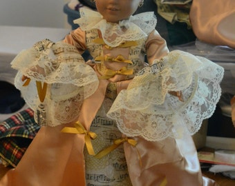 doll clothes French Marie Antionette dress hair clip perfume bottle gold silky fabric printed fabric lace ribbon