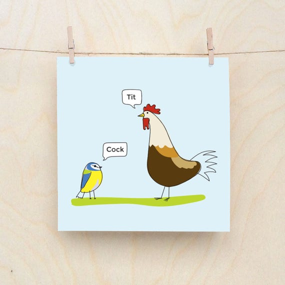 Tit and cock card, Funny Greetings card, Funny Birthday card, Funny Bird card