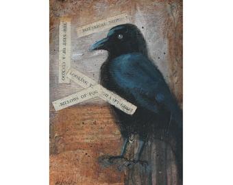"5 x 7 ORIGINAL Mixed Media Collage Blackbird Crow ""Haunted Imaginings"" by Donna Ceraulo"