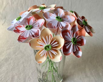Mini Coral Flower Bouquet, Valentine's Day, 1st Anniversary, Cancer Patient Flowers, Office Decor, Paper Flowers, Origami, Miniature