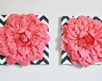 "Nursery Decor Girl Coral - Light Coral Dahlia on Navy and White Chevron 12 x 12"" Canvas Wall Art- 3D Flower"