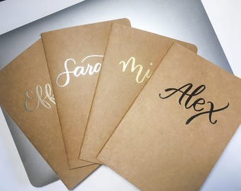 Notebook Sets / Custom Name【Embossing】Kraft Paper Journal / A5 or B5 80 pages