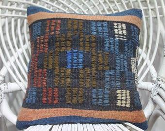 geometric kilim pillow vintage kilim pillow vegetable dyes ottoman pillow cover 16x16 Turkish kilim pillow floor cushion cover 4015