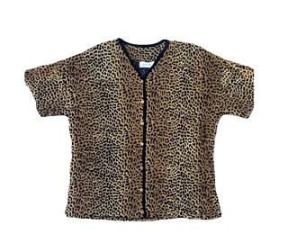 Vintage Cheetah Print Short Sleeve Cardigan