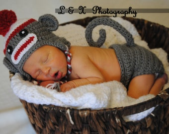 Baby Sock Monkey  Hat  and Diaper Cover Set Newborn Baby Crochet Photo Prop