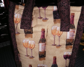 Wine Tote made with Wine Bottle Fabric