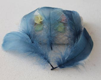 10 feathers blue jean - plush - 8 - 10 cm - dream catcher - jewelry - decoration - sewing - Hat