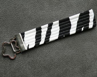 Black and White Zebra Key Fob Wristlet