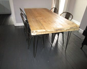 Vintage style Hairpin leg Kitchen Table Rustic Reclaimed Industrial Hairpin Legs Dining table hand made in the UK and Custom made
