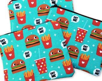 Burger & Fries Zipper Pouch - Coin Purse EAT ME