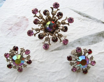 Vintage Pink and Red Rhinestone Starburst Brooch and Earring Set