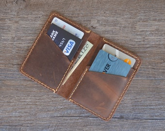 Minimalist Leather Wallet, Leather Bifold Wallet, Distressed Leather Slim Bifold Wallet, Personalized Leather Wallet, Fathers Day Gift,