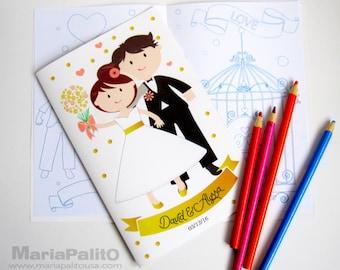 6 livres à colorier mariage, cahier d'activités pour enfants, personnalisé des faveurs du parti, mariée marié Coloriage livre A1278