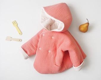 "Baby réversible ""Lutin"" jacket, MOMO, made in France, kimono sleeve, Double gauze"