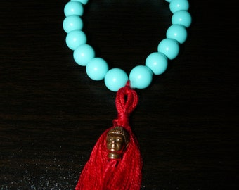 Faux Turquoise Beads Light Teal Beads Tassel Buddha Bracelet