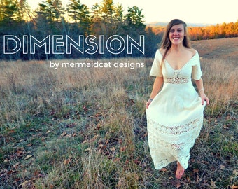 Crochet maxi dress pattern -Dimension