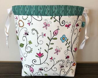 Springtime Sock Knitting Bag, Knitting Project Bag, Drawstring Bag, Small Project Bag, Crochet Bag,
