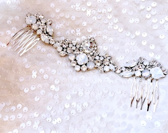 White opal bridal hair comb, Bridal Headpiece Wedding Headpiece Decorative Hair Adornment Statement Decorative Bridal Headpiece MELANIE