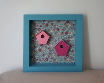Blue and pink - flowered canvas 30x30cm - CAROLINE new