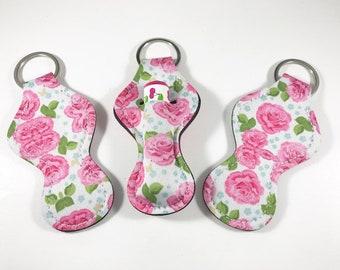 Chapstick Holders, Chapstick Keychain, Chapstick Holder Pink Floral
