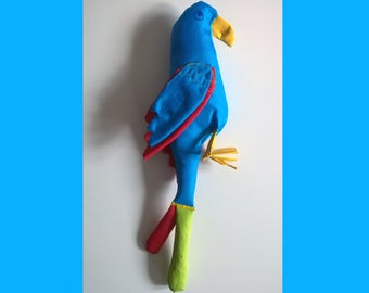 Squeaky macaw dog toy