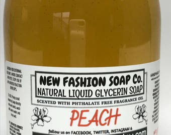 PEACH LIQUID GLYCERIN Soap,luxurious, gentle on your hands, parabens, detergents and phthalate free,no synthetic colors, Hostess favors