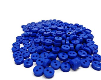 Cobalt blue buttons, 50 tiny buttons, tiny blue buttons, micro buttons, 6mm buttons, mini buttons, sewing accessories, sewing buttons