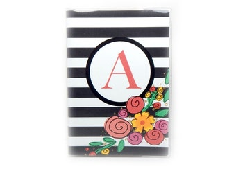 Personalized Passport cover - Modern Floral Stripe - choose your initial - women's passport holder - chic customized gift - stripes