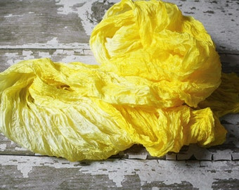 Sunshine yellow - bright yellow silk scarf with touch of light lemon hue.