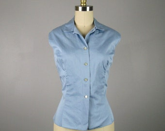 Vintage 1950s Blue Cotton Blouse 50s Button Down Top Size M