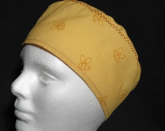 Scrub Hat, Surgical Cap or Chemo Hat Bees on Golden Yellow