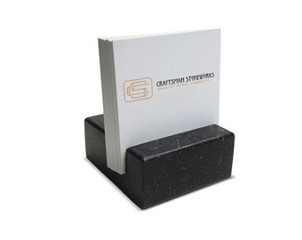 Square Business Card Holder - Black Absolute Granite - Office Desk Home, Desk Accessory, Recycled Granite