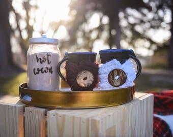 Coffee Cup Cozy // Coffee Sleeve // Coffee Cozy // Tea Cozy // Tea Cup Cozy // Drink Cozy // Buttoned Cozy