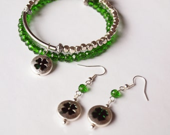 Mothers Day, Irish, Green, Shamrock, Silver, Memory Wire, Bracelet, Charm, Handmade, Fashion Jewelry, Lucky, Four Leaf Clover, Earrings