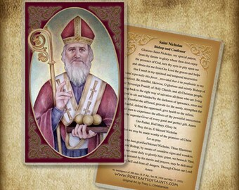 St. Nicholas Holy Card or Wood Magnet  #0145