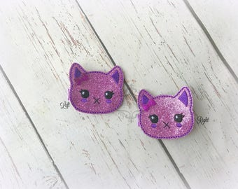 Halloween Hair clip Kitty Embroidered Felt Hair Clips Pick one or two. Pick Left side or Right.